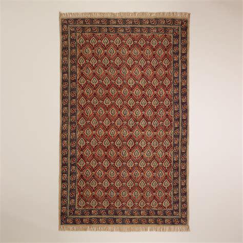 kalamkari rug 5 x8 rust bordered block print kalamkari rug world market