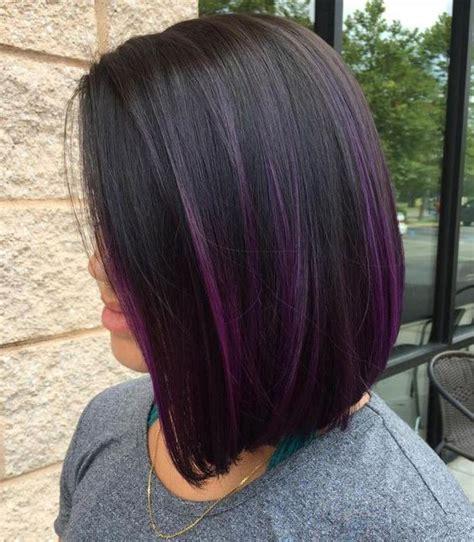 black stacked bob with purple balayage 15 trendy purple balayage hair ideas styleoholic