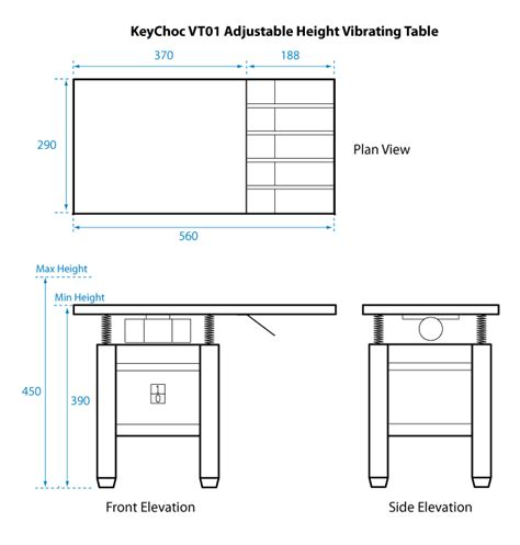 Vt01 Vibrating Table Keychoc Drafting Table Dimensions