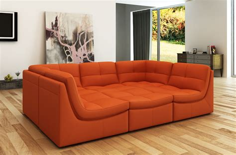 Orange Sectional Sofa Divani Casa 207 Modern Orange Bonded Leather Sectional Sofa