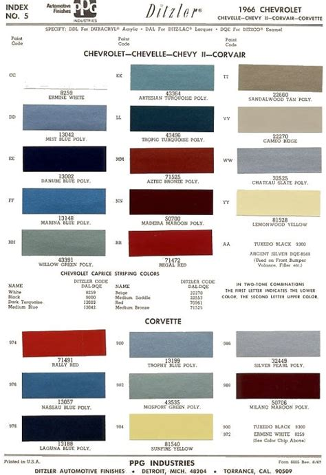 gm auto color chips 1966 chevrolet chevelle the 1966 chevelle reference cd auto paint