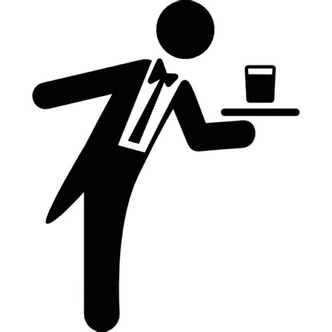 Black And White Kitchen Design by Waiter Serving A Drink On A Tray Icons Free Download