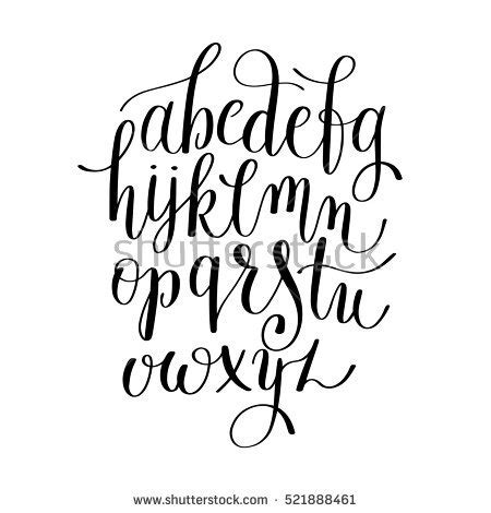 black white hand lettering alphabet design stock vector
