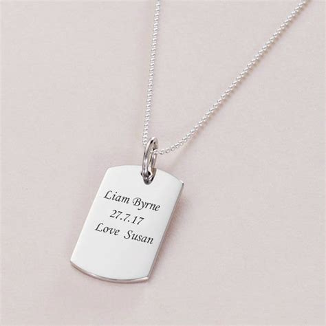 engraved silver dogtag necklace charming engraving