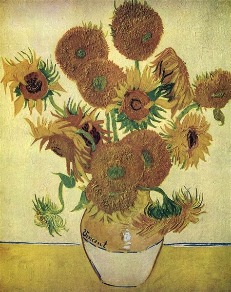 Fourteen Sunflowers In A Vase by Vase With Fourteen Sunflowers By Gogh Vincent