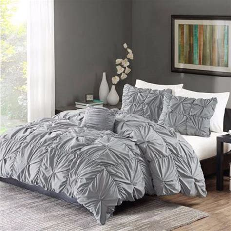 Bedding Set Ruched Bedding Set Gray King Size Bed Duvet Comforter Shams 4 Twist New Ebay