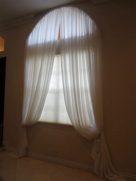 Curtains For Arched Windows Yardena Arch Window With Pleated White Sheer Drapes Modern Curtains Miami By
