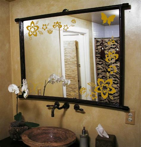 mirror stickers bathroom large wall floral blossom nursery mirror ornament