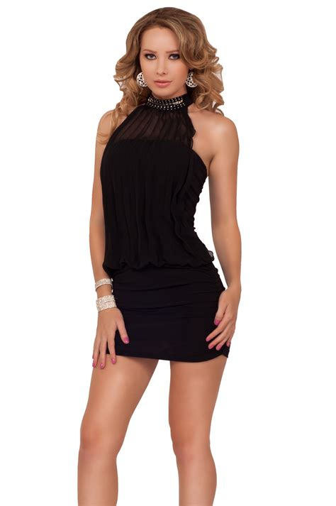 Mini Dress Irithel Square Bordir backless halter neck evening dress