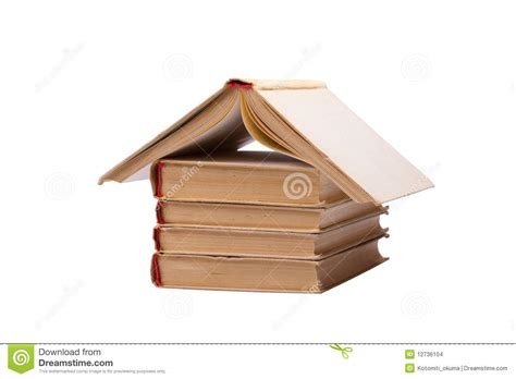 House Of Books by Pile Of Books With One Opened Like House Roof Stock Images Image 12736104