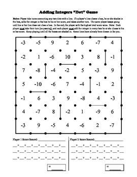 printable games with integers dots integers and game on pinterest