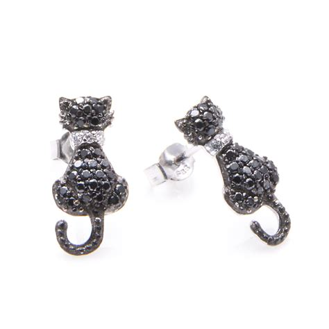 Sterling Silver Studs sterling silver black cat stud earrings sste00904