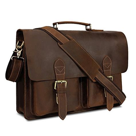 Best Handmade Leather Bags - kattee handmade genuine leather laptop briefcase messenger