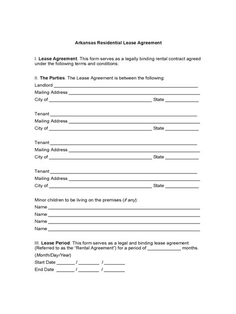 free printable lease agreement arkansas arkansas rent and lease template free templates in pdf