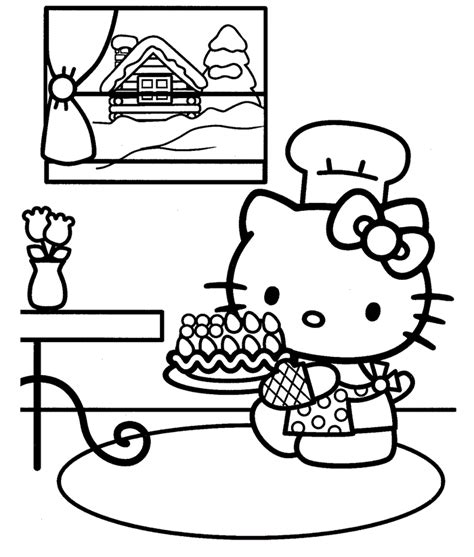 hello kitty baking coloring pages free printable hello kitty coloring pages for kids