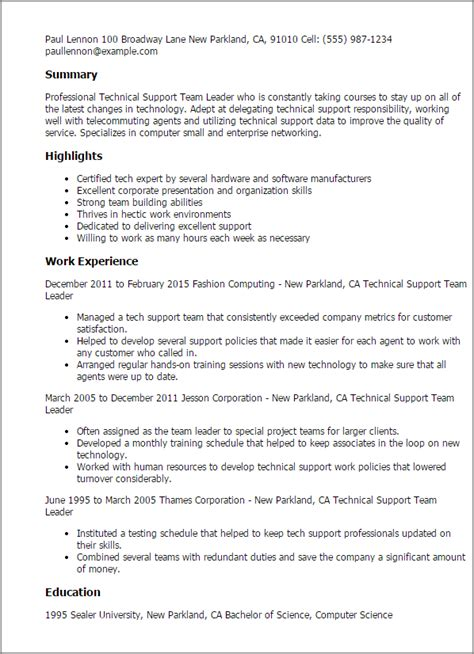 Professional Technical Support Team Leader Templates To Showcase Your Talent Myperfectresume Team Lead Resume Template