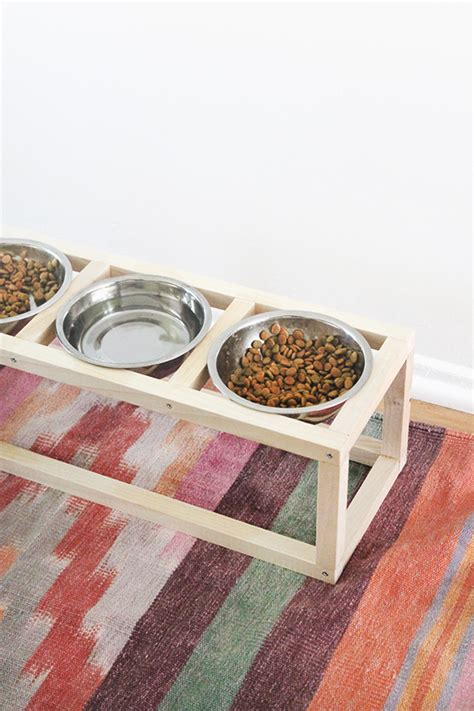 remodelaholic diy dog food bowl stand for small pups diy modern pet bowl stand almost makes perfect