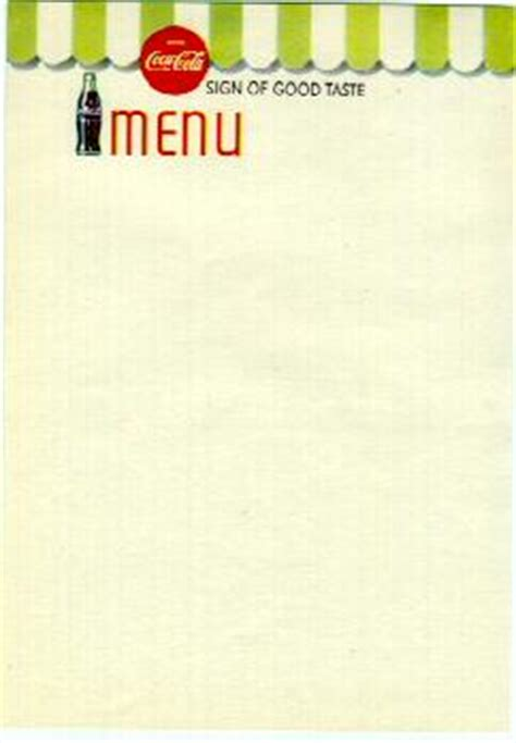 blank menu design templates