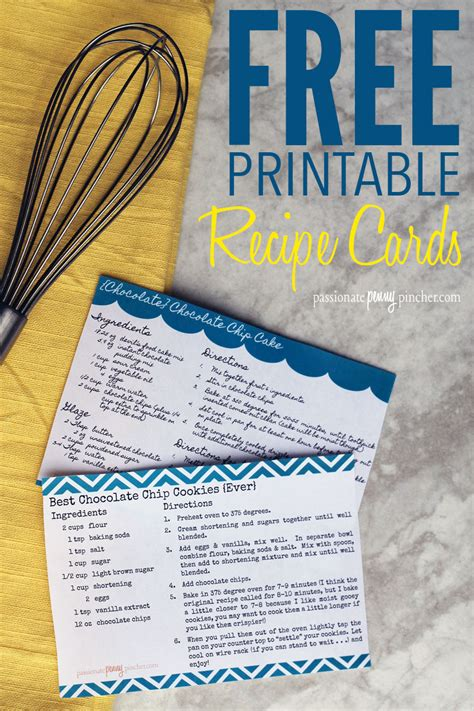 online printable recipes free printable recipe cards passionate penny pincher