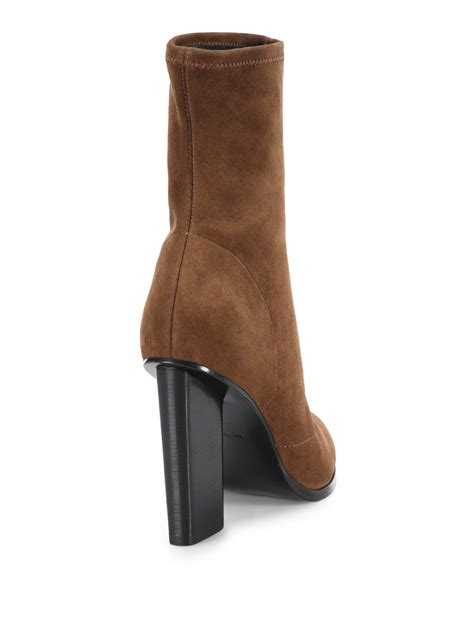 wang stretch suede ankle boots in brown lyst