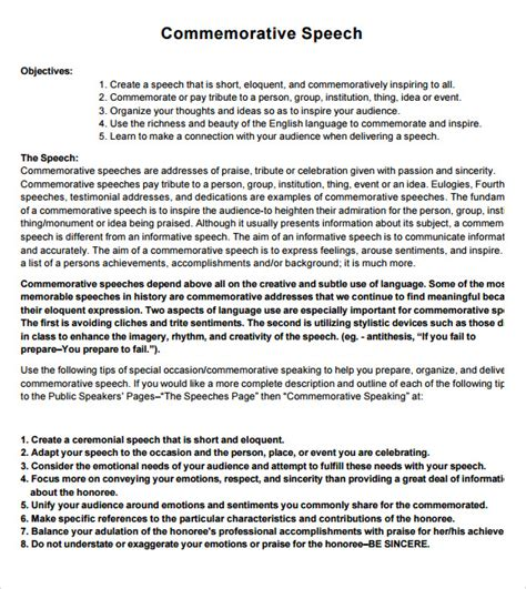7 Commemorative Speech Exles For Free Download Sle Templates Ceremonial Speech Exles