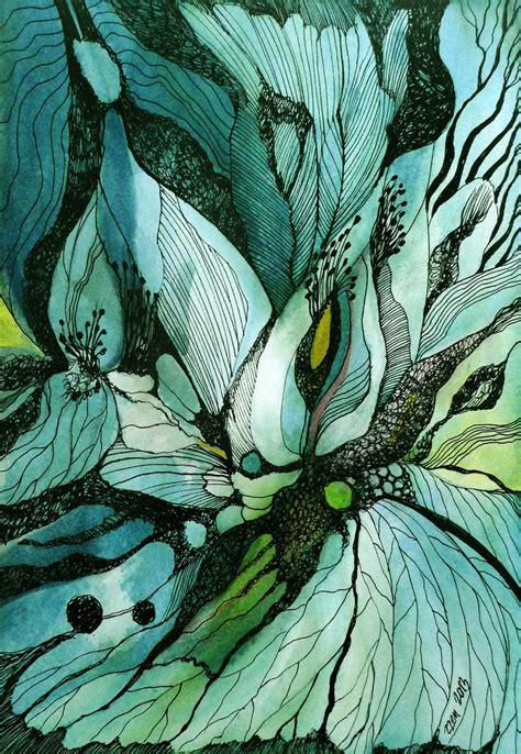 watercolor ink pattern green garden by zzen on deviantart