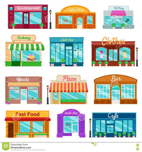 store layout vector shops and stores front icons set flat style vector