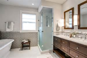 Frosted glass tile bathroom traditional with double vanity