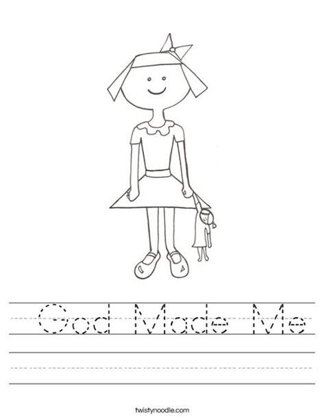 God Made Me Worksheet Twisty Noodle God Me Coloring Page