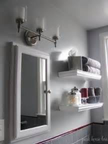 grey bathroom accent color shelving toilet foter