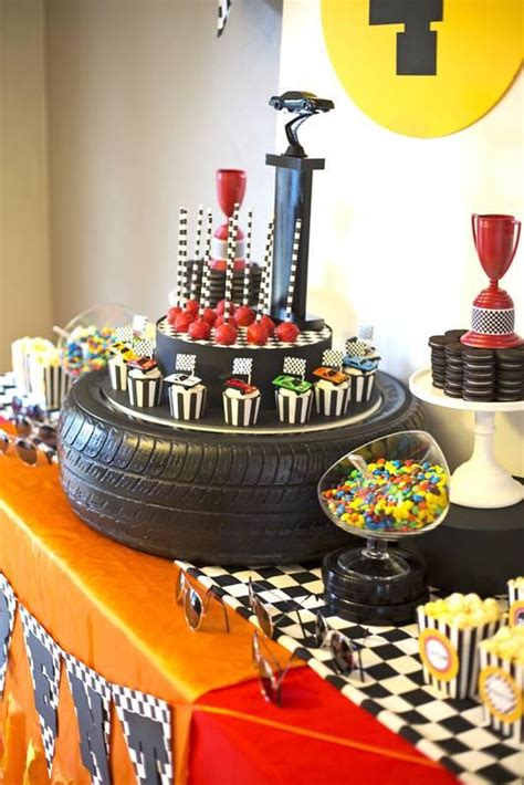 car themed decorations a rad race car themed 4th birthday spaceships and