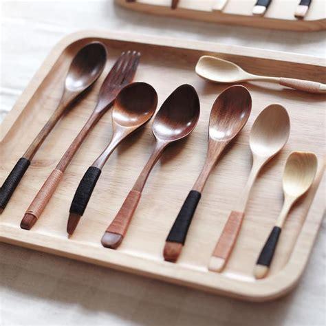 Fruit Spoon Fork japanese style wooden spoon fruit fork mini wooden child