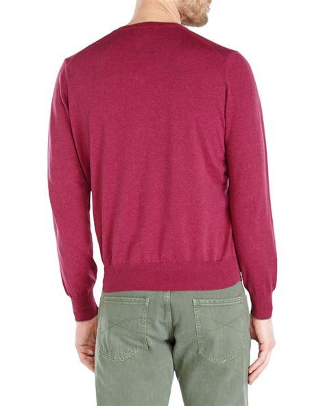 lyst brunello cucinelli burgundy v neck sweater in