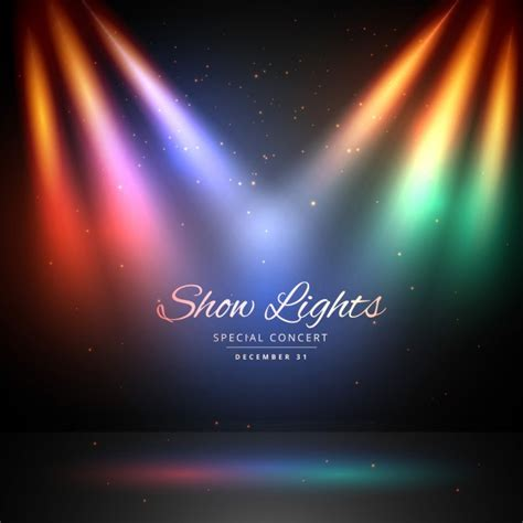 colored light stage with colored lights vector free
