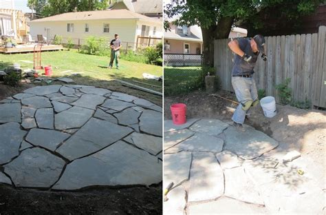 Diy Concrete Backyard by How To Set Up A Flagstone Patio Design