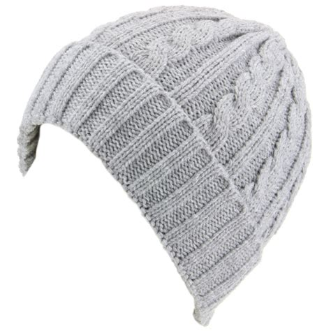 Knit Beanie hawkins cable knit beanie hat with turn up light grey