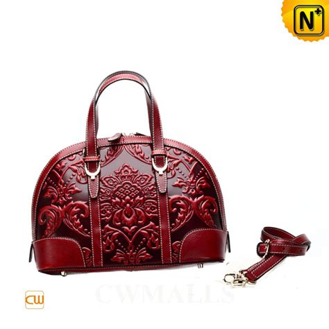 Maddox Satchel Embossed Size M embossed leather domed satchel medium cw251168