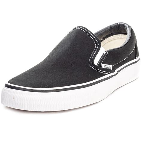 cheap vans classic womens slip on shoes black white