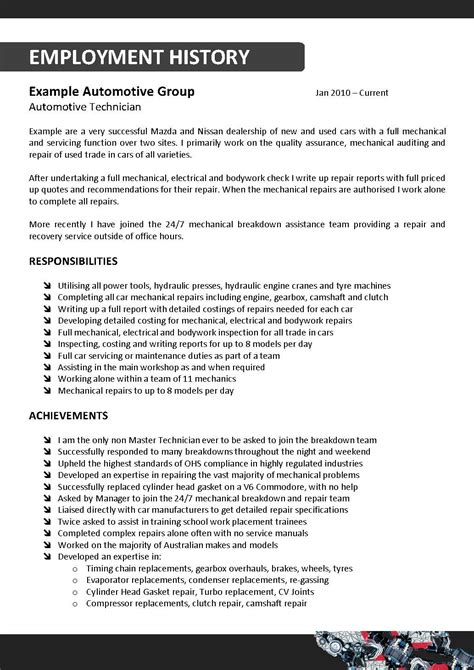sle resume for auto mechanic 28 images technician