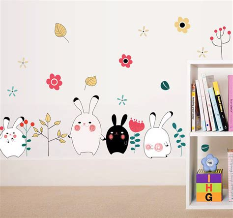 Wallpaper Sticker Pvc Kartun Anak Rabbit animal rabbit wall sticker wallpaper removable diy decal home decor mural vinyl at banggood
