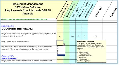 dm software requirements checklist fit gap analysis