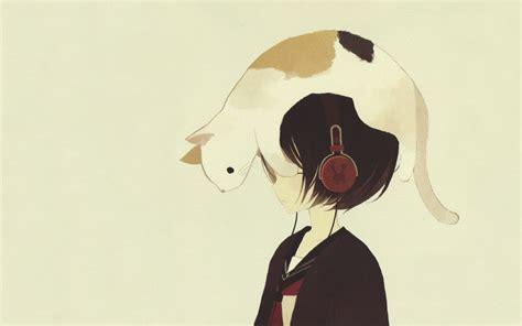 wallpaper cat anime anime girls cat headphones simple background