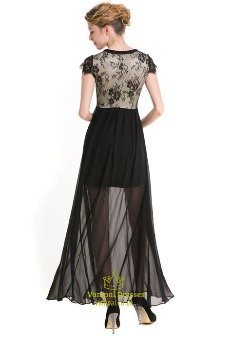 Sleeve A Line Chiffon Dress black cap sleeve a line chiffon maxi dress with lace