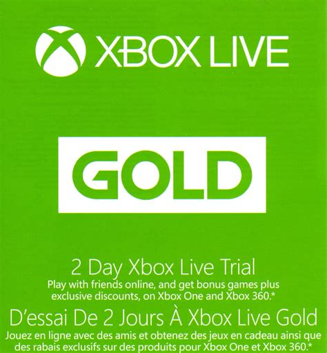 Voucher Xbox Live Xbl 10 Card xbox live gold 2 day trial code voucher card xbox one or xbox 360 consoles prepaid gaming cards