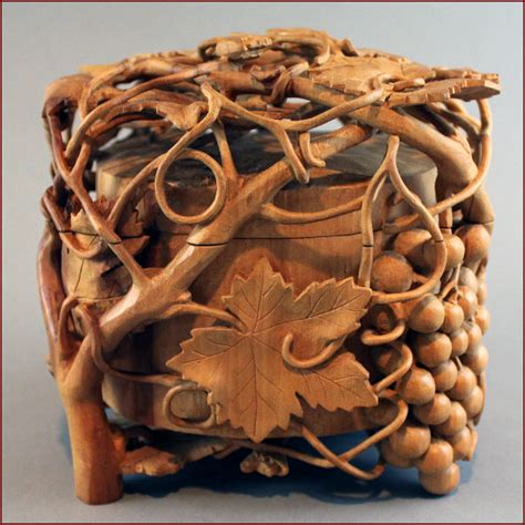 untitled  jewelry box  pear wood carving arts