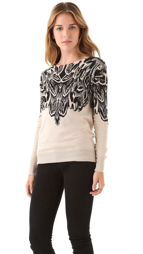 Print Sweater Hoodie Boho Feathers lyst twelfth cynthia vincent feather print