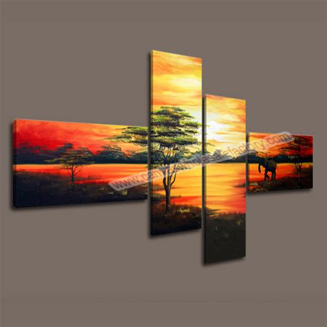 cheap unframed home decor canvas 4 panel wall print modern decorative painting of landscape