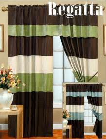 Brown And Green Curtains Designs New Window Curtains Panel Set Blue Green Brown Veneto B Ebay