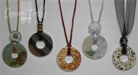 a path of paper washer pendant necklaces keychains