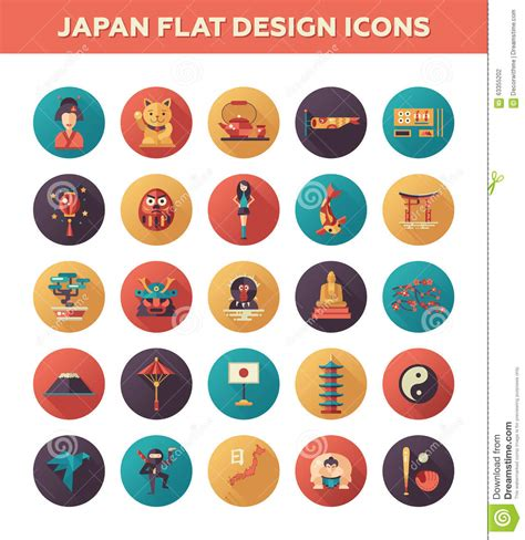 flat icon design japan set of flat design japan travel icons and stock vector